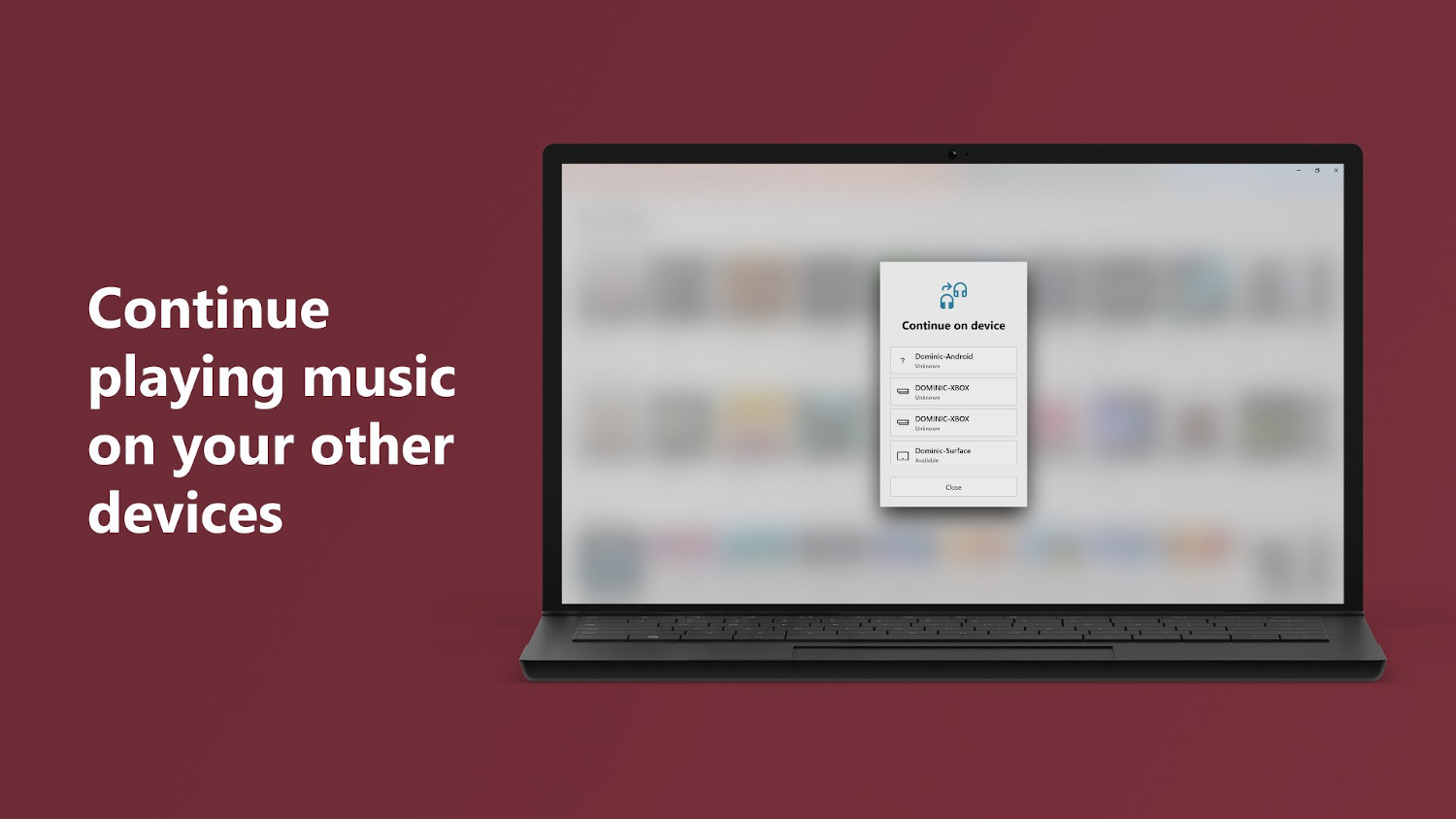 Continue playing music on your other devices